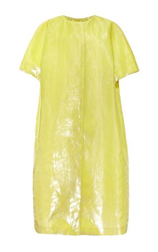 Medium rochas green bonded velvet panne silk short sleeve coat