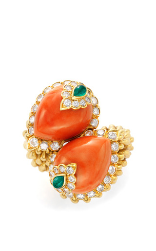 One Of A Kind David Webb Gold Coral Emerald And Diamond Ring by FD GALLERY Now Available on Moda Operandi