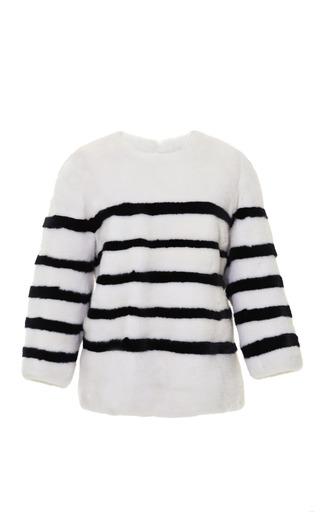 Medium kule white striped mink pullover