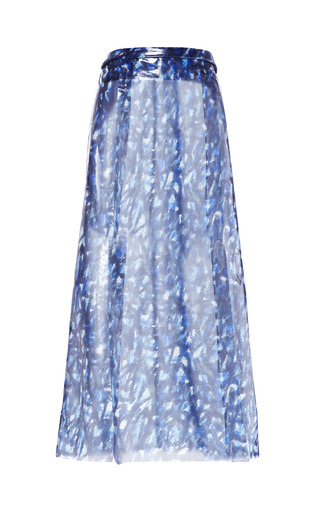Medium kenzo blue lacquered silk scribble skirt