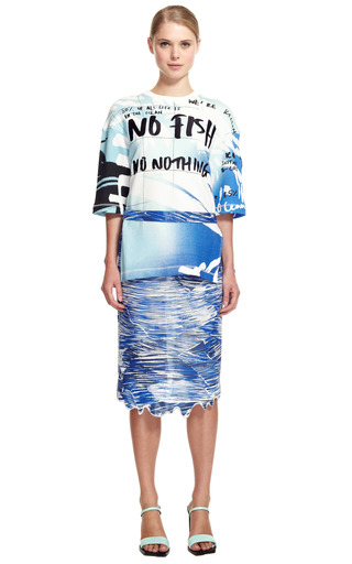 Cotton Blend Lame Broken Waves Skirt by KENZO for Preorder on Moda Operandi