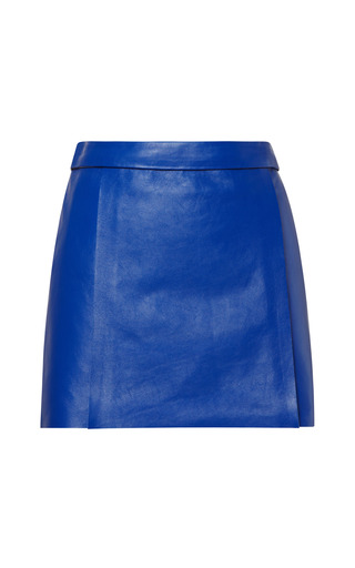 Medium kenzo blue double face leather skirt 2