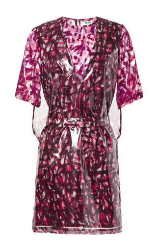 Medium kenzo pink lacquered silk scribble dress