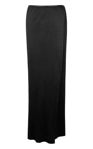 Medium j w anderson black black leather crystal wrap skirt