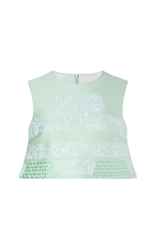 Medium peter pilotto light green embroidered aerial crop