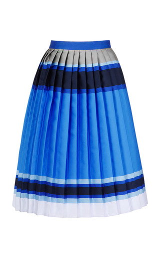 Blue Multi Doubleface Stripe Pleated Skirt by OSTWALD HELGASON for Preorder on Moda Operandi