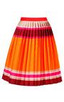 Red Multi Doubleface Stripe Pleated Skirt by OSTWALD HELGASON for Preorder on Moda Operandi