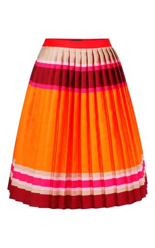 Medium ostwald helgason orange red multi doubleface stripe pleated skirt