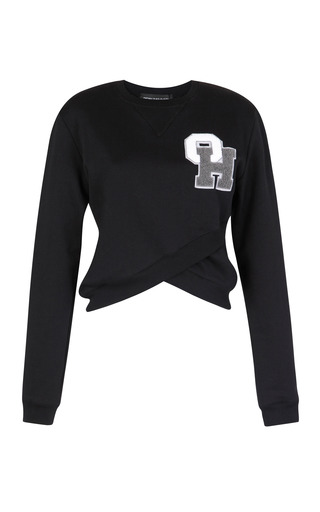 Black Collegiate Cross Over Sweatshirt by OSTWALD HELGASON for Preorder on Moda Operandi