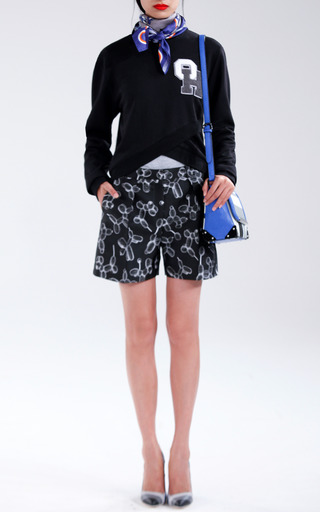 Black Doubleface Balloon Jacquard Shorts by OSTWALD HELGASON for Preorder on Moda Operandi