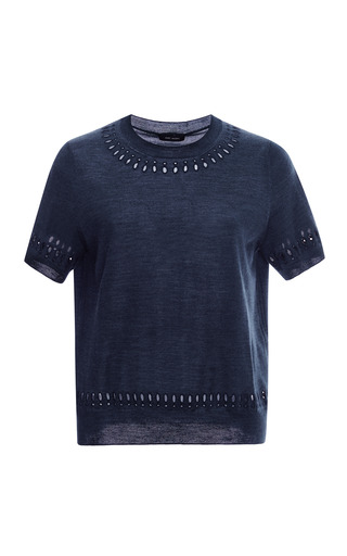 Medium marc jacobs navy embroidered wool and silk knit top