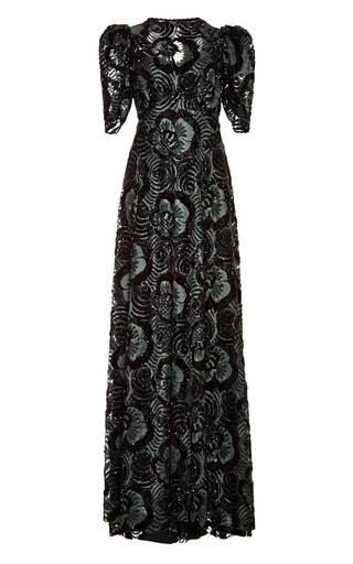 Medium marc jacobs green embellished guipure lace gown