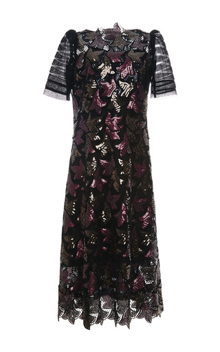 Medium marc jacobs brown sequined guipure lace dress