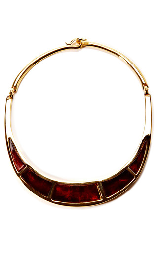 Medium house of lavande black 1970s lanvin gold tortoise necklace