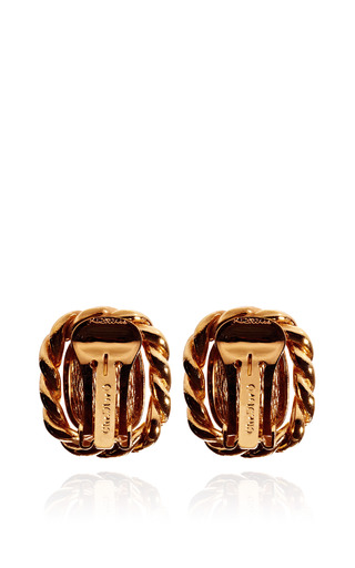 Christian Dior Small Cabochon Gold Tone Rope Earrings by HOUSE OF LAVANDE Now Available on Moda Operandi