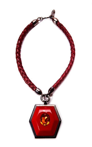 Medium house of lavande red yves saint laurent red topaz pendant necklace
