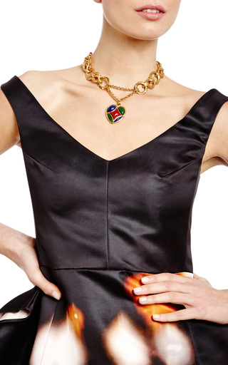 Yves Saint Laurent Enamel Heart Chain Link Necklace by HOUSE OF LAVANDE Now Available on Moda Operandi