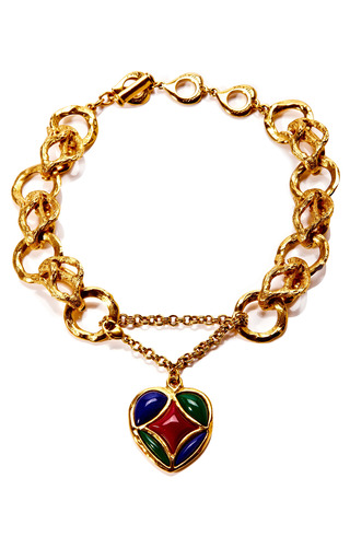 Medium house of lavande green yves saint laurent enamel heart chain link necklace