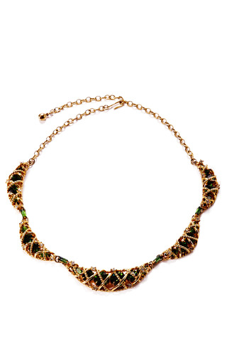 Medium house of lavande green 1950s intertwined gold metal rope and glass emerald choker