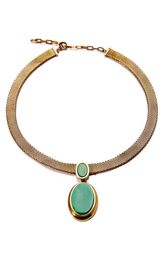 1971 Christian Dior Gold Collar Necklace With A Green Pendant by HOUSE OF LAVANDE Now Available on Moda Operandi