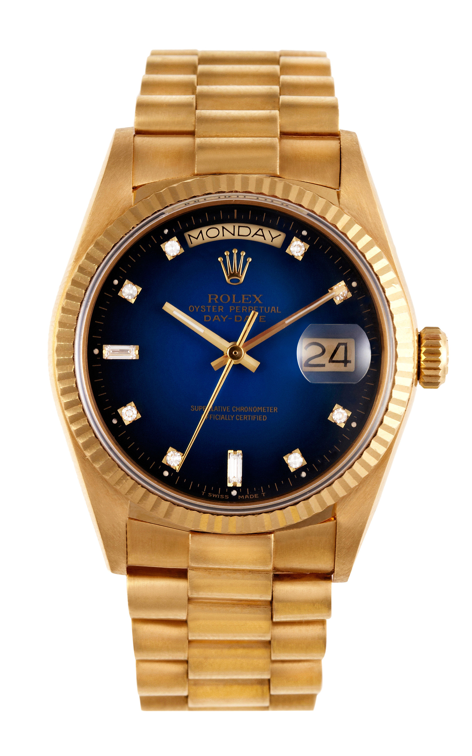 Rolex 18K Yellow Gold Day-Date President with Blue   Moda ...