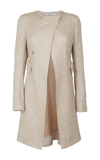 Medium nina ricci khaki sequined tweed coat
