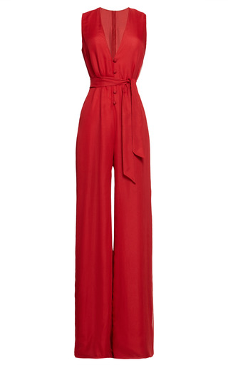 Medium martin grant red v neck jumpsuit