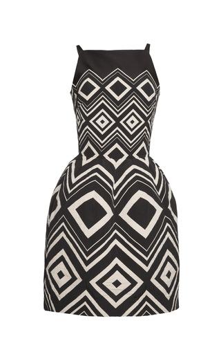 Medium martin grant black geometrical jacquard cocktail dress