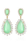 M'o Exclusive: One Of A Kind 18 K Gold Mint Chrysoprase And Diamond Drop Earrings by IRENE NEUWIRTH Now Available on Moda Operandi