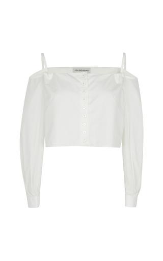 Medium vika gazinskaya white shoulder strap cropped top with perforated sleeves