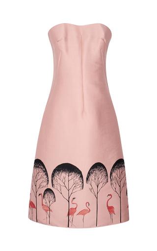 Medium vika gazinskaya black fitted bustier dress with flamingo tree pattern