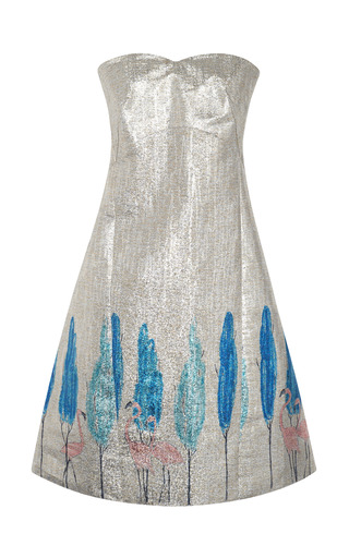 Medium vika gazinskaya pink fitted bustier dress with flamingo tree pattern 2