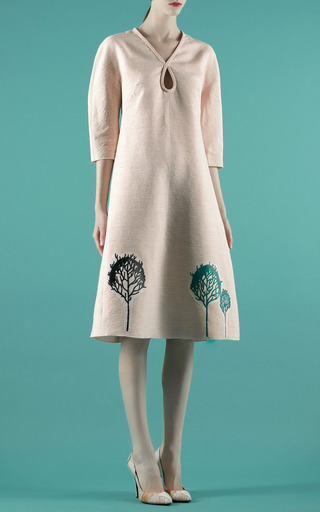 A Line Dress Decorated With Trees Applique by VIKA GAZINSKAYA for Preorder on Moda Operandi