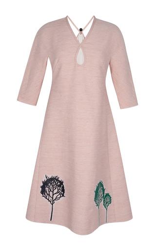 Medium vika gazinskaya black a line dress decorated with trees applique