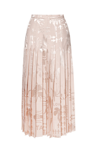 Medium christopher kane nude jacquard pleat skirt long 2