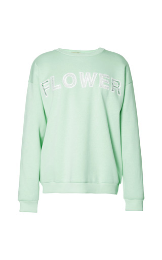 Medium christopher kane light green lace flower embroidery sweatshirt