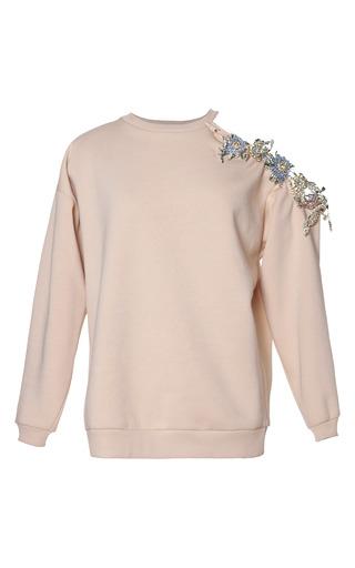 Medium christopher kane nude cut away shoulder sweatshirt with gems