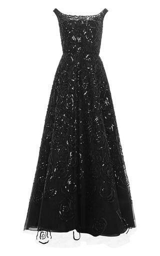 Medium oscar de la renta black sequined off the shoulder tulle gown