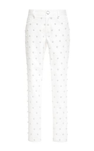 Medium oscar de la renta white pearl embellished cropped jeans