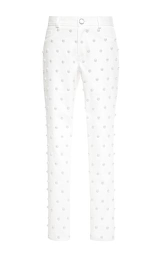 Medium oscar de la renta white pearl embellished cropped jeans
