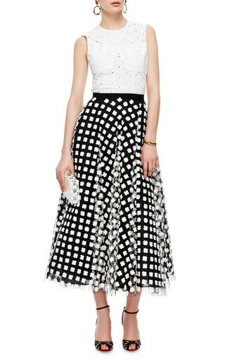 Floral Appliquéd Midi Tulle Skirt by OSCAR DE LA RENTA Now Available on Moda Operandi