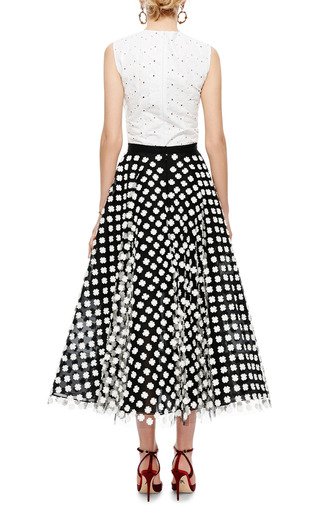 Floral Appliquéd Midi Tulle Skirt by OSCAR DE LA RENTA Now Available on Moda Operandi