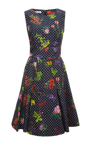 Medium oscar de la renta navy floral print silk faille dress