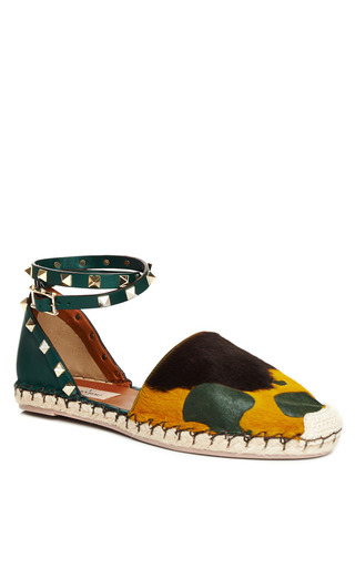 Light Emerald Cavallino Espadrille by VALENTINO for Preorder on Moda Operandi
