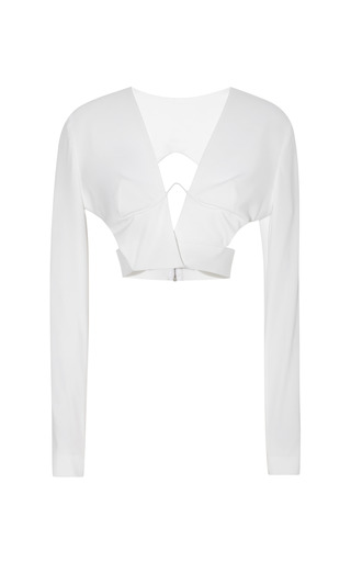 Medium dion lee white hybrid wire long sleeve top