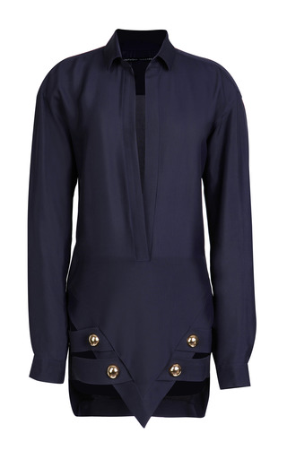 Medium anthony vaccarello blue shirt sharp dress