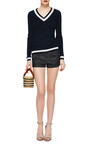 V Neck Cashmere Sweater by THOM BROWNE Now Available on Moda Operandi