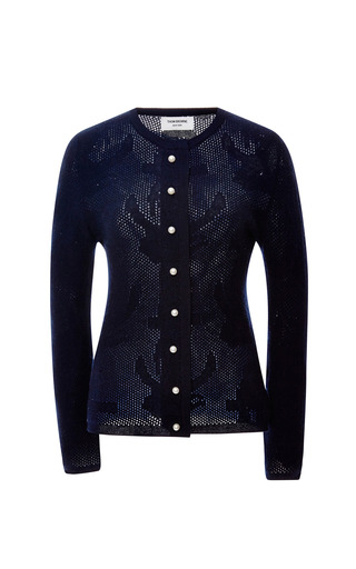 Slim Fit Cashmere Cardigan by THOM BROWNE Now Available on Moda Operandi