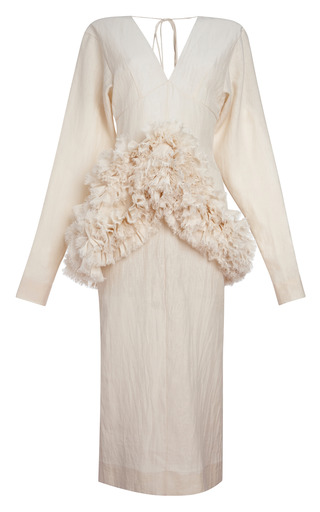 Medium marni nude alabaster cotton silk gauze long sleeve dress