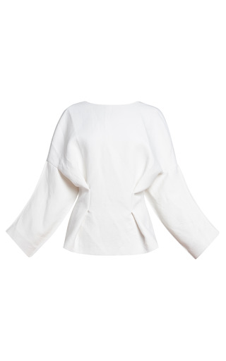 Medium marni white diamante washed double armure blouse